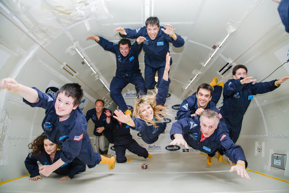 Flyers enjoy the thrill of weightlessness aboard a ZERO-G chartered flight