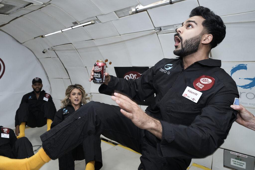 Dr. Pepper Floats in Zero Gravity